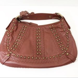Isabella Fiore cognac studded leather hobo EUC